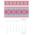 2017 Calendar planner with ethnic cross-stitch vector image vector image