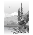 beautiful grayscale mountain landscape vector image vector image