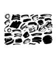 black dry brushstrokes hand drawn set vector image vector image