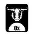 chinese calendar animal monochrome logotype ox vector image