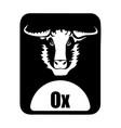 chinese calendar animal monochrome logotype ox vector image vector image
