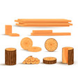 collection wooden logs vector image vector image