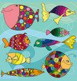 colorful cartoon fishes vector image vector image