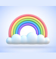 colorful rainbow with clouds 3d vector image vector image