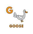 cute cartoon animals alphabet goose vector image vector image