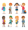 Cute puplis with books and backpacks vector image