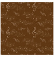 dark brown seamless pattern with wavy music notes vector image vector image