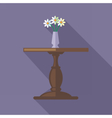 Digital flowers in vase on a wooden table vector image vector image
