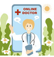 doctor online concept in a robe waving vector image vector image