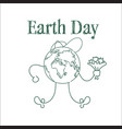 earth day cute greeting card sketch on white vector image vector image