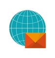 earth globe diagram and envelope icon vector image vector image