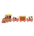 easter gingerbread train with easter eggs rabbit vector image vector image