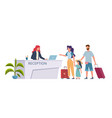 family at hotel reception check into hostel vector image vector image