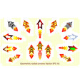 geometric rockets fire arrows set kit fire arrow vector image vector image