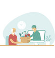 grocery delivery for elderly people vector image