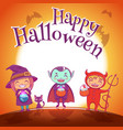 halloween poster with kids in costumes of witch vector image vector image
