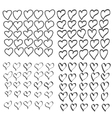 hand drawn heart set vector image vector image