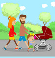 happy family walking with a stroller in city park vector image