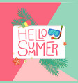 hello summer ice cream snorkel starfish colorful b vector image vector image