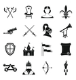 Knight medieval icons set simple style vector image vector image