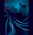 light trails on the street of big city in the vector image