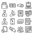 money and coin icon set on white background vector image vector image