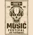 music nineties festival vintage poster with skull vector image vector image