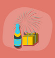 paper sticker on stylish background fireworks vector image vector image