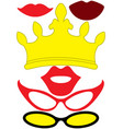 party queen accessories set - glasses crown lips vector image