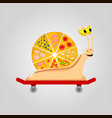 pizza snail on skateboard vector image