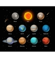 Planets colorful set on dark background vector image vector image