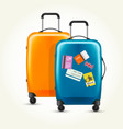 plastic wheeled suitcases - baggage with travel vector image vector image