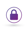 purple gradient simple lock icon in circle vector image