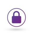 purple gradient simple lock icon in circle vector image vector image