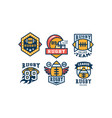 rugby team logo design set vintage college league vector image vector image