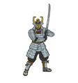 samurai warrior sketch vector image