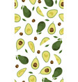 seamless pattern whole and sliced avocado on vector image vector image
