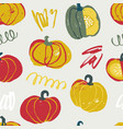 seamless pattern with hand drawn rough pumpkins vector image