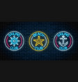 set of three glowing neon signs of sailing club vector image