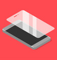 smartphone with protector glass in isometric vector image