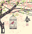 spring landscape with chinese hieroglyph spring vector image vector image