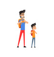 super hero dad and his son standing with backpacks vector image vector image