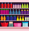supermarket shelves with assortment of products vector image