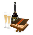 tasty champagne with glasses and box of chocolates vector image vector image