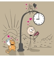 The guy near post with a clock waiting for date vector image vector image