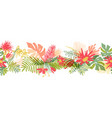 tropical flower hand drawn border vector image vector image