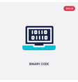 two color binary code icon from artificial vector image vector image