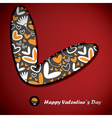 valentine day card with flowers and hearts vector image vector image