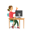 woman sitting at table thumb up isolated vector image
