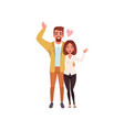 young man and woman characters standing embracing vector image